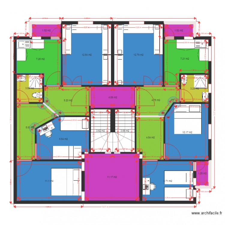 plan appartement de 60m2 plan 21 pi ces 133 m2 dessin par ech chahidi naceur. Black Bedroom Furniture Sets. Home Design Ideas