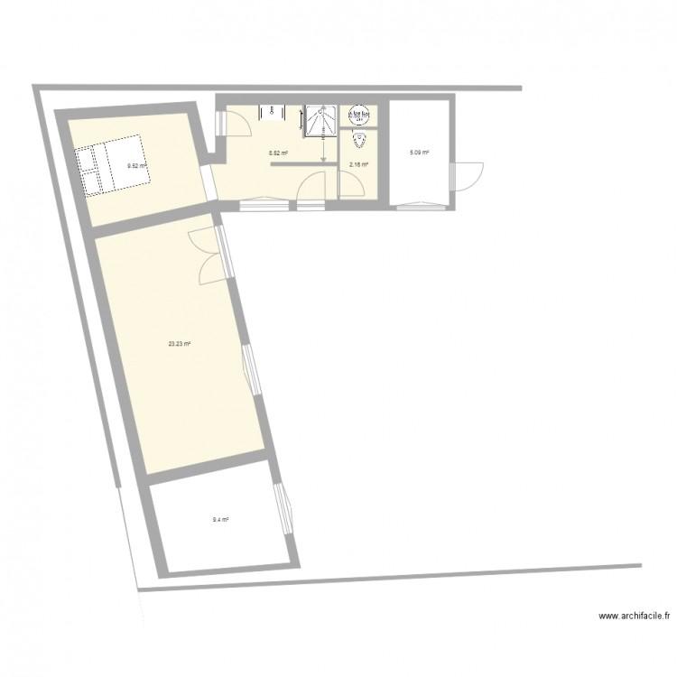 Extension ancienne maison v2 plan 7 pi ces 59 m2 dessin for Extension maison 59