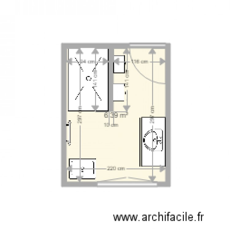 salle de bain plan 1 pi ce 6 m2 dessin par tbarreyre. Black Bedroom Furniture Sets. Home Design Ideas