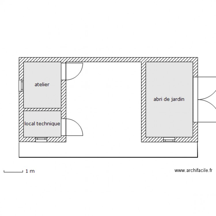 local piscine abri de jardin plan 3 pi ces 18 m2 dessin. Black Bedroom Furniture Sets. Home Design Ideas