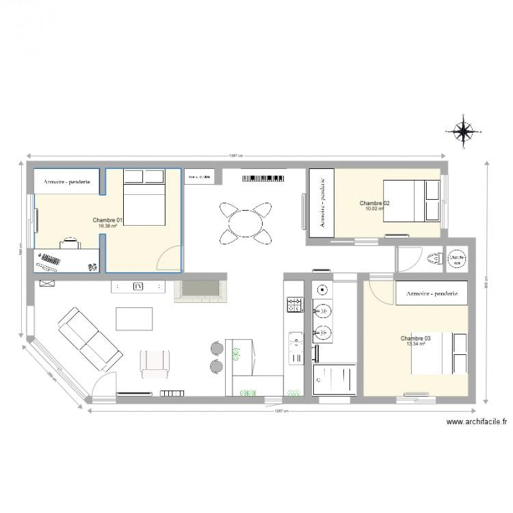 maison l ognan plan lectricit prise cuisine plan 3 pi ces 40 m2 dessin par leinst. Black Bedroom Furniture Sets. Home Design Ideas