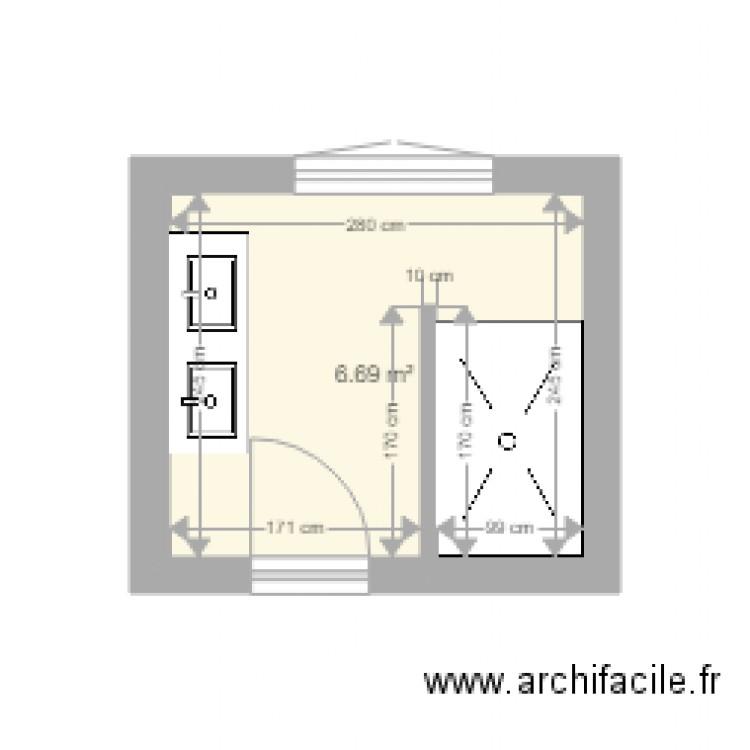 Salle de bain plan 1 pi ce 7 m2 dessin par julespelle for Salle de bain 7 5 m2