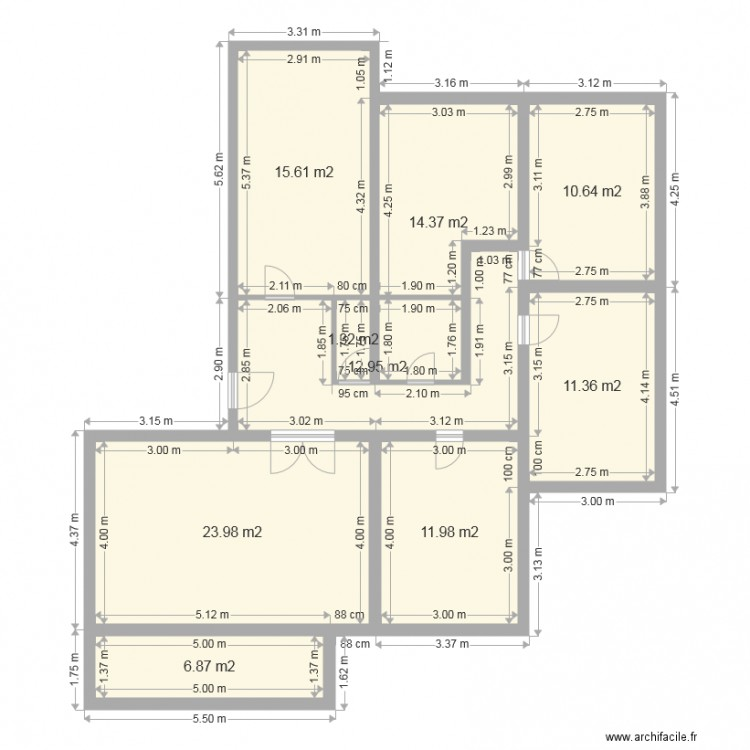Maison f5 plan 9 pi ces 109 m2 dessin par para doxe for Plan de maison f5