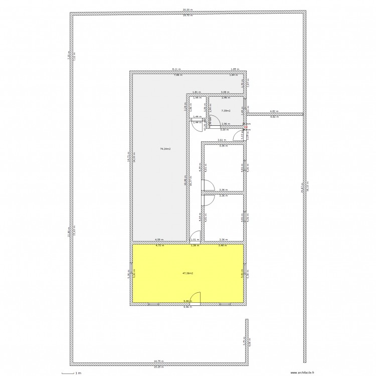 Maison Terrain 600m2 Entree Sud. Plan De 3 Pièces Et 129 M2