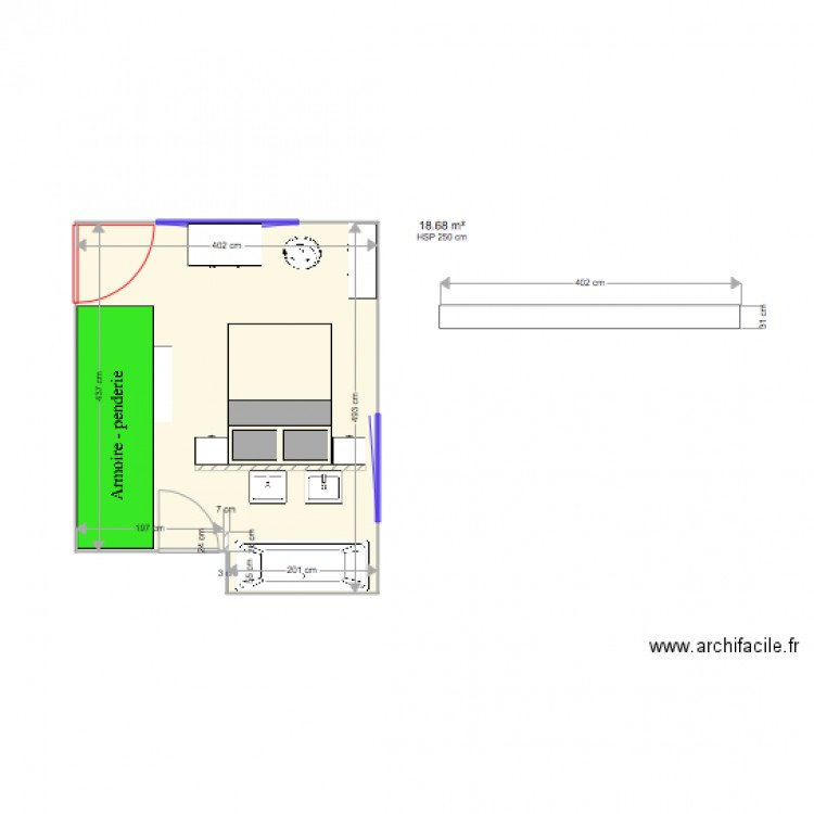 Chambre parentale plan 1 pi ce 19 m2 dessin par for Taille chambre parentale