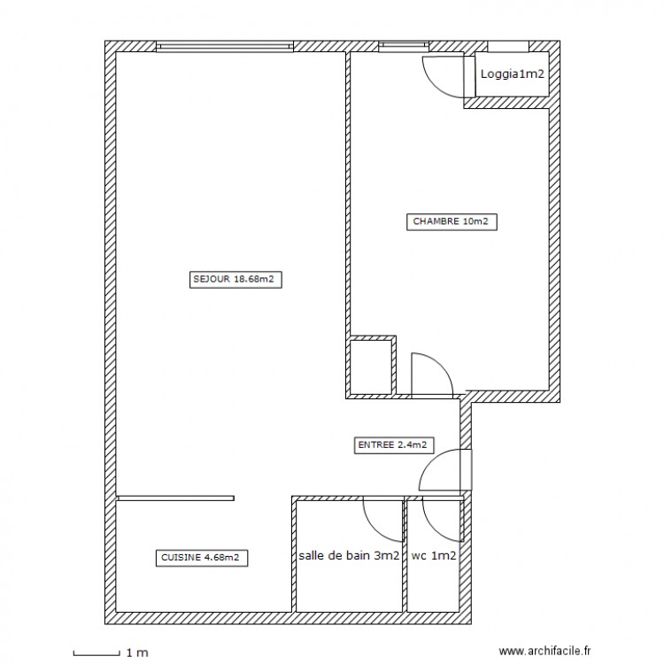 Appart t2 40m2 plan 5 pi ces 74 m2 dessin par emf for Plan piece a vivre 40m2