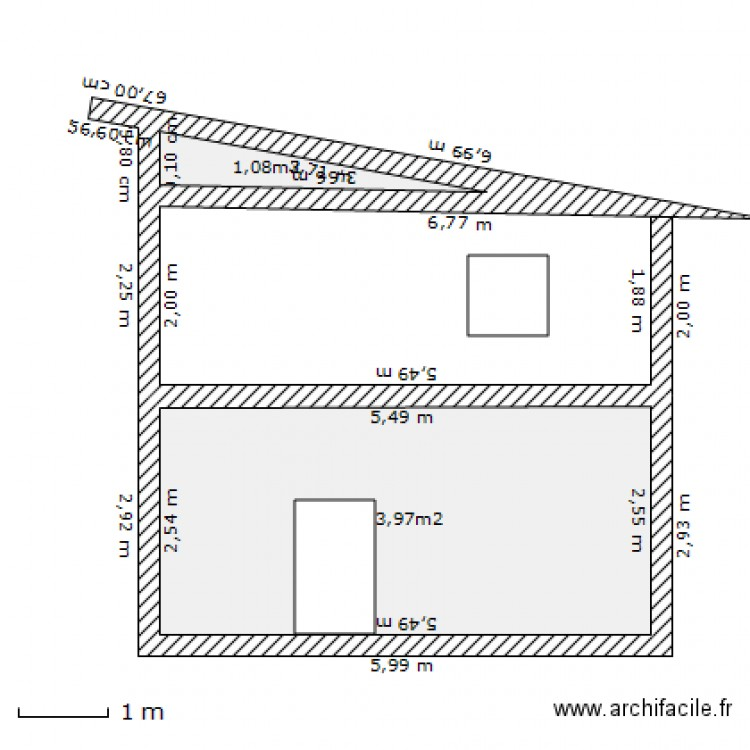 plan coupe maison yann plan 2 pi ces 15 m2 dessin par yannsolo2005. Black Bedroom Furniture Sets. Home Design Ideas