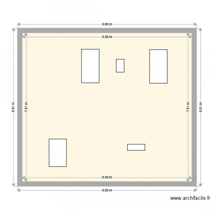 plan coupe facade nord existante plan 1 pi ce 64 m2 dessin par catherine06. Black Bedroom Furniture Sets. Home Design Ideas