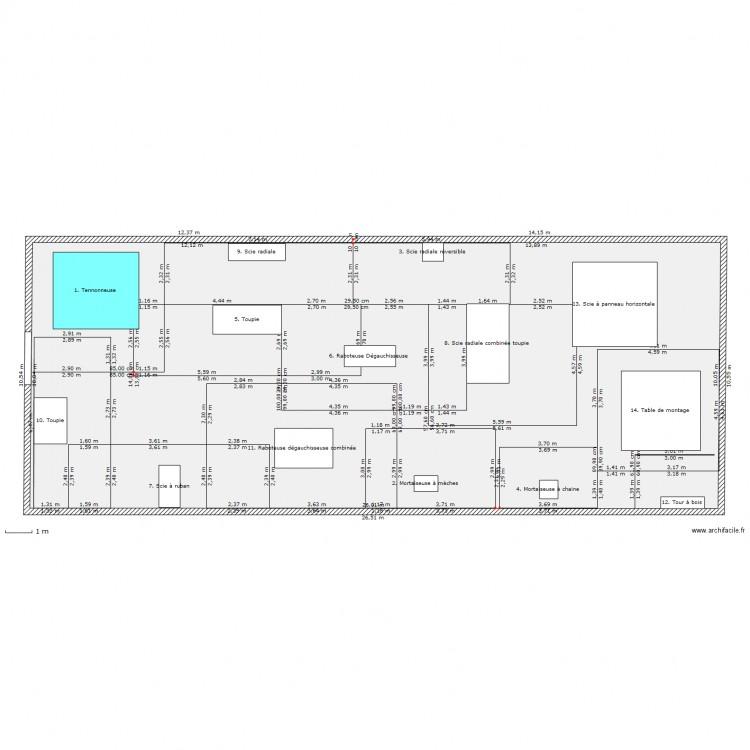 Implantation salle des machines menuiserie avec cotation for Plan maison avec cotation