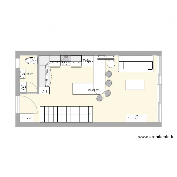 en bas appartement plan 2 pi ces 29 m2 dessin par vinzfwi. Black Bedroom Furniture Sets. Home Design Ideas