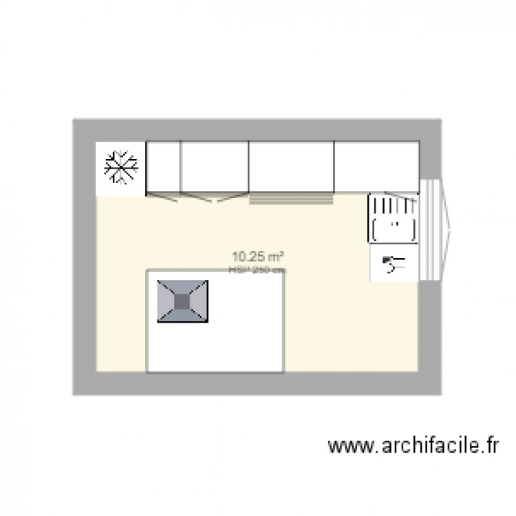 cuisine 1 plan 1 pi ce 10 m2 dessin par lc7. Black Bedroom Furniture Sets. Home Design Ideas