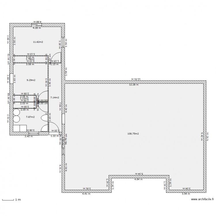Extension 40m2 plan 7 pi ces 148 m2 dessin par zizi31 - Plan extension maison 40m2 ...