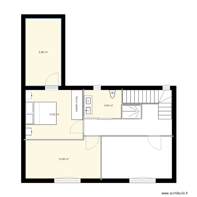 Amenagement etage 2 plan 5 pi ces 63 m2 dessin par for Amenagement appartement 2 pieces