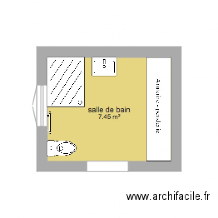 salle de bain 3m plan 1 pi ce 7 m2 dessin par joricardo. Black Bedroom Furniture Sets. Home Design Ideas