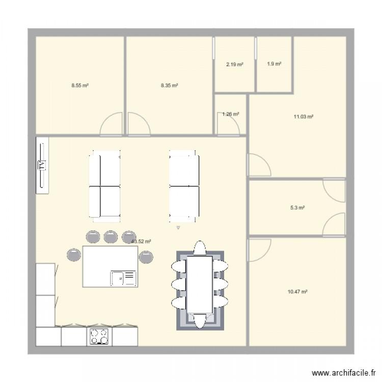 Maison Plein Pied Carre Plan 9 Pieces 93 M2 Dessine Par Planmaisonkellybiquet