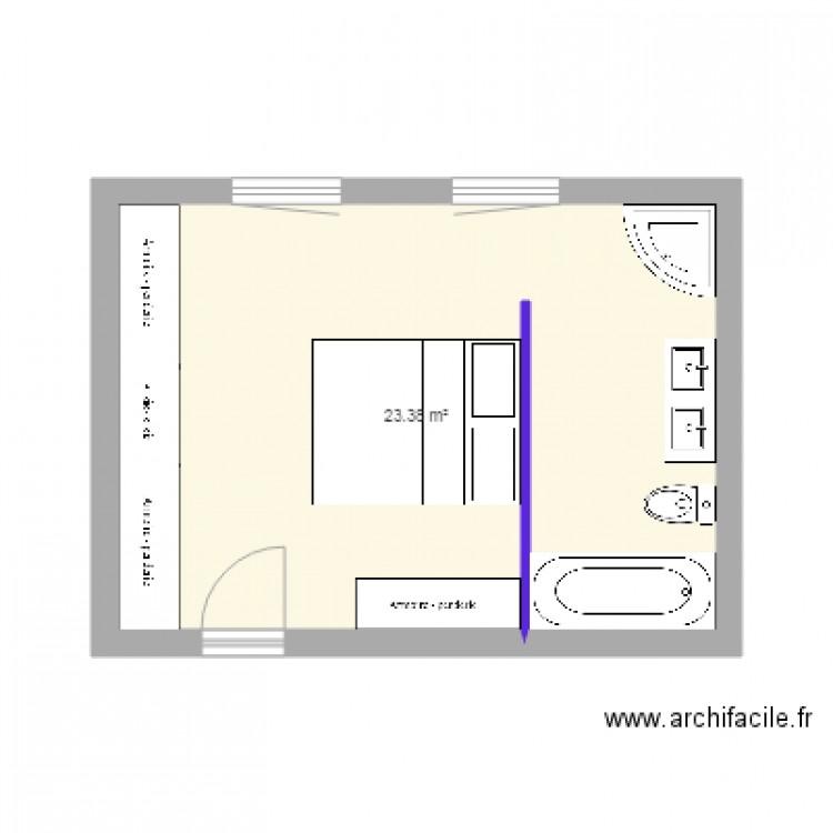 Chambre parents plan 1 pi ce 23 m2 dessin par batirelec for Chambre one piece