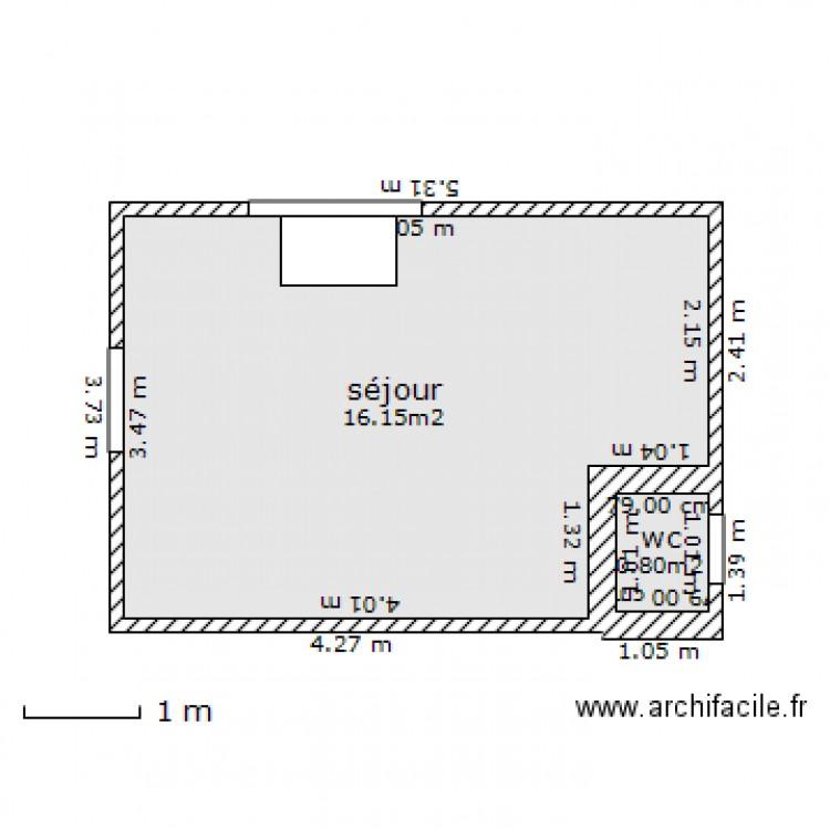 Chalet client 15m2 plan 2 pi ces 17 m2 dessin par for Plan chambre parentale 15m2
