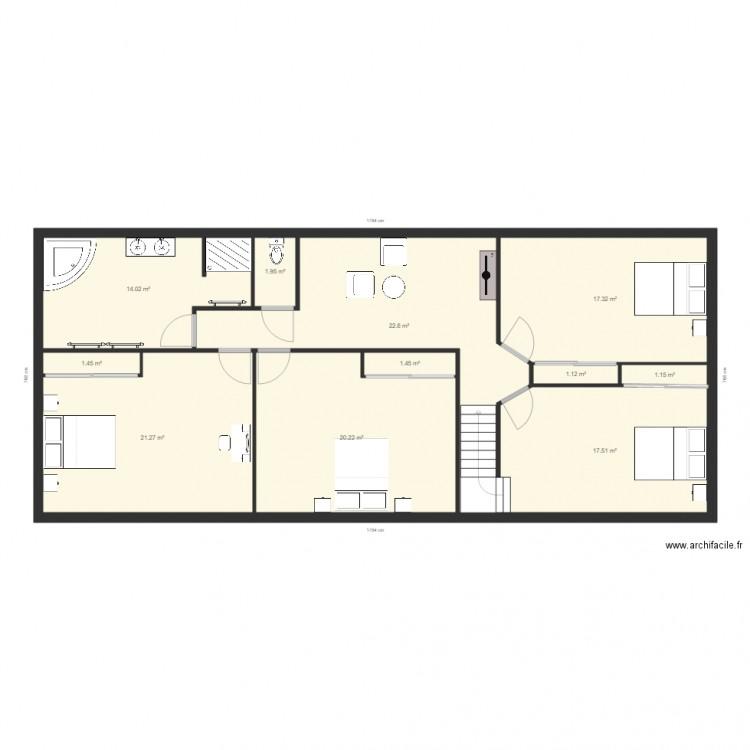 Juvigne 1 plan 11 pi ces 120 m2 dessin par mickasti - Plan appartement 120 m2 ...