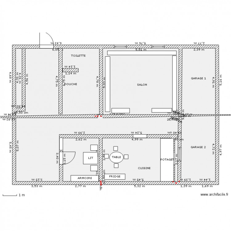 Maison 150 m/ 100 m - Plan 1 pièce 130 m2 dessiné par Touria82