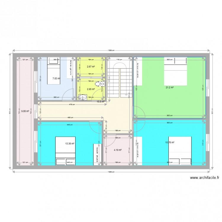 Maison duplex 1er etage plan 9 pi ces 93 m2 dessin par for Plan maison duplex