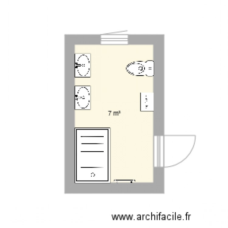 salle de bains 7m2 plan 1 pi ce 7 m2 dessin par elizabeth0312. Black Bedroom Furniture Sets. Home Design Ideas