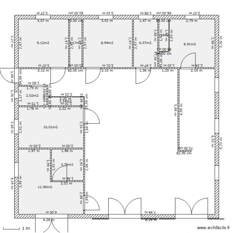 Plan maison en bois 1 plan 11 pi ces 64 m2 dessin par for Taille moyenne maison