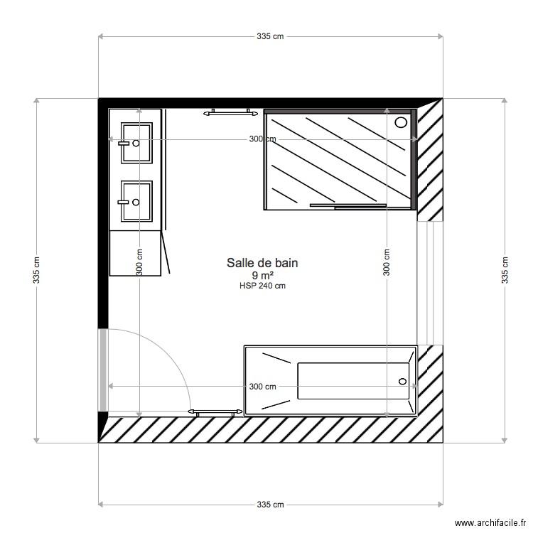 Salle De Bain 9m2 3em Plan 1 Piece 9 M2 Dessine Par Solenn