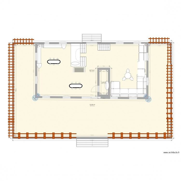 maison campagne plan 3 pi ces 225 m2 dessin par hoummada. Black Bedroom Furniture Sets. Home Design Ideas