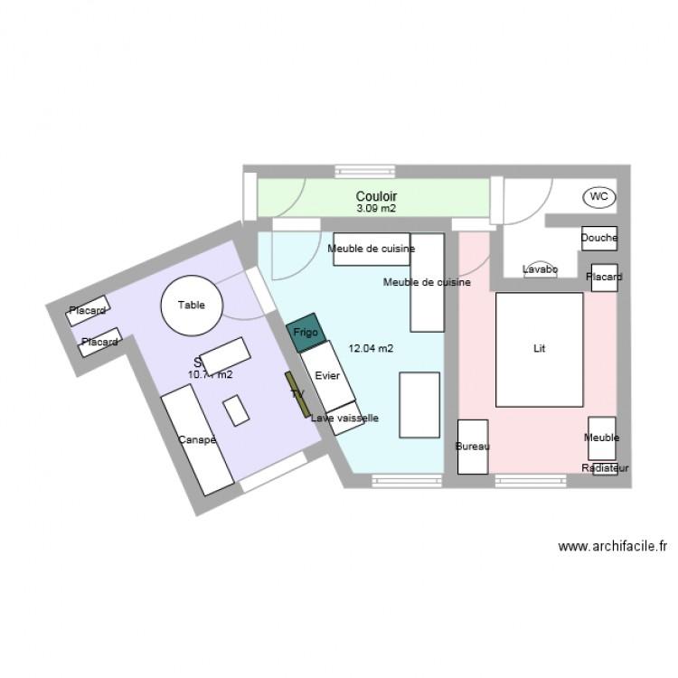 Plan appart 40m2 plan 4 pi ces 37 m2 dessin par wil9g for Plan piece a vivre 40m2