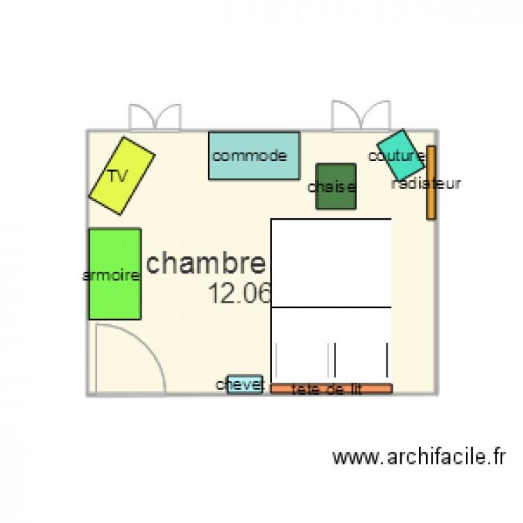 Chambre mamie lit double plan 1 pi ce 12 m2 dessin par for Chambre one piece