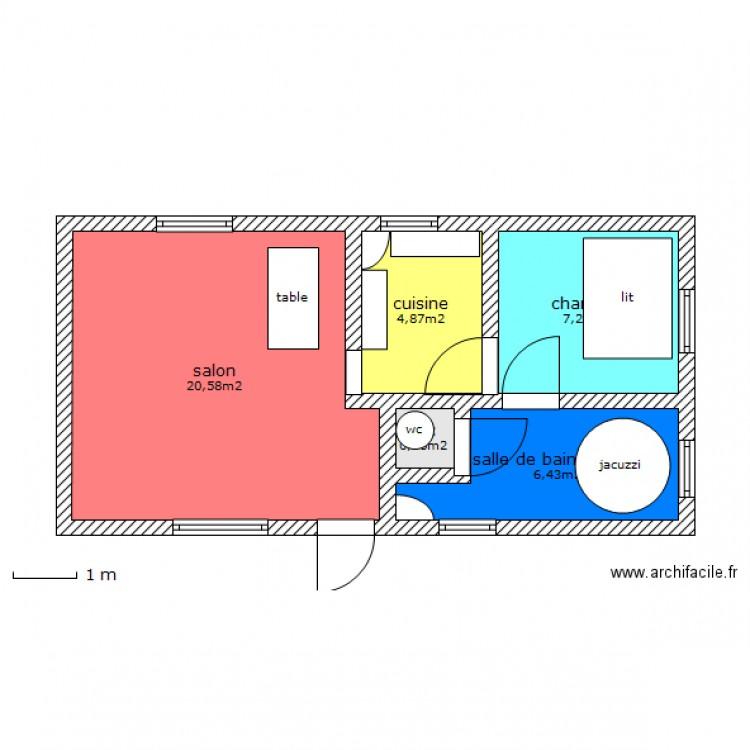 Guillaume arpt t2 40m2 plan 5 pi ces 40 m2 dessin par for Salon 40m2 plan