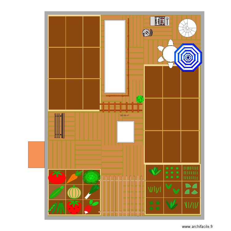 toit v g tal terasse potager plan 1 pi ce 181 m2 dessin. Black Bedroom Furniture Sets. Home Design Ideas