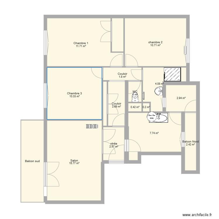 plan appartement 83 m2