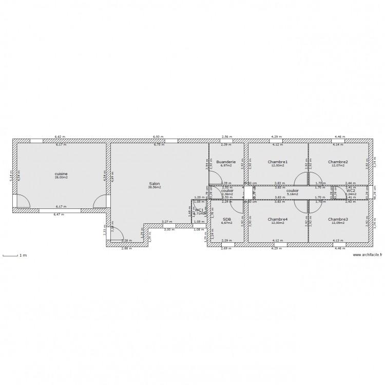 Maison plein pied plan 13 pi ces 140 m2 dessin par aventuremaison - Consommation electrique moyenne maison 140 m2 ...