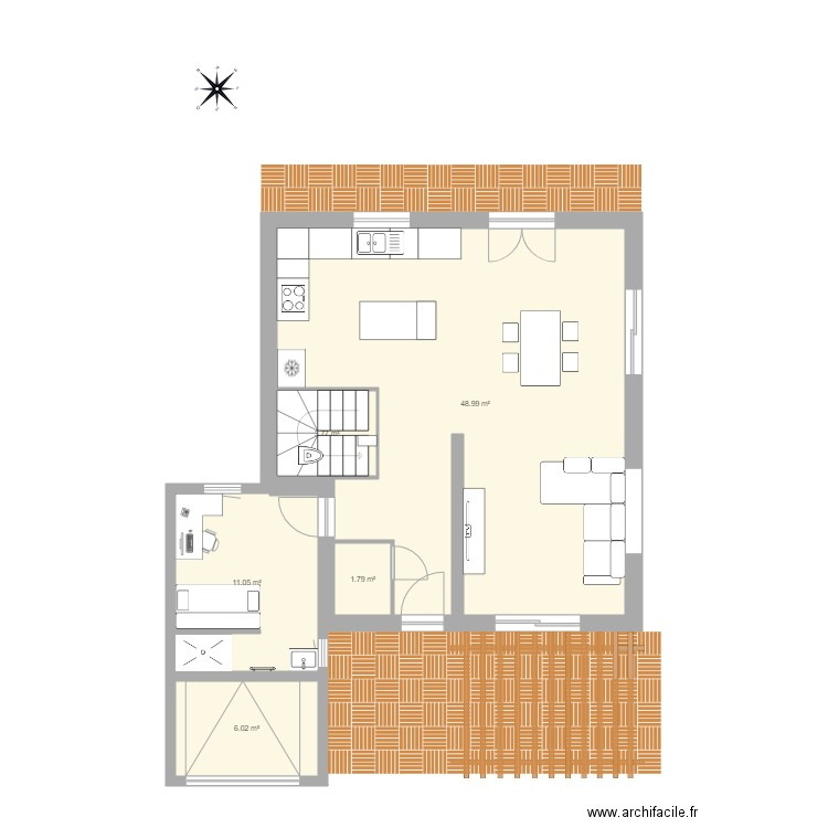 Mca rez bis plan 5 pi ces 72 m2 dessin par skal206 for Plan maison mca