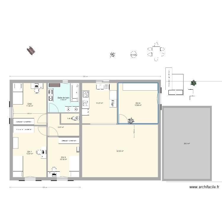 projet philippe 13mx9m ext rieur version 1 plan 9 pi ces 103 m2 dessin par petitpois. Black Bedroom Furniture Sets. Home Design Ideas