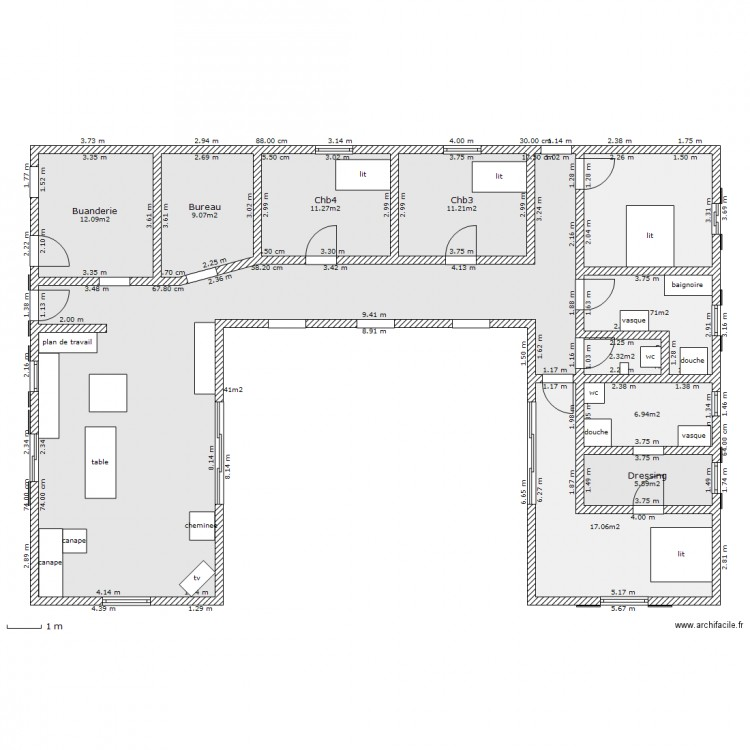 maison en u plan 11 pi ces 165 m2 dessin par mika17. Black Bedroom Furniture Sets. Home Design Ideas
