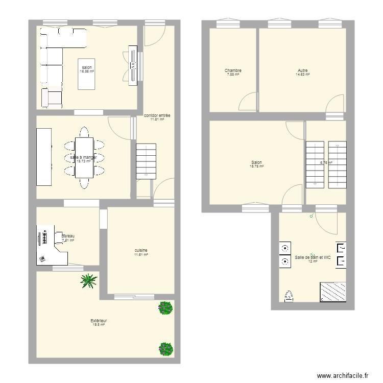Maison 1er tage plan 11 pi ces 140 m2 dessin par delfik for Plan maison 140m2