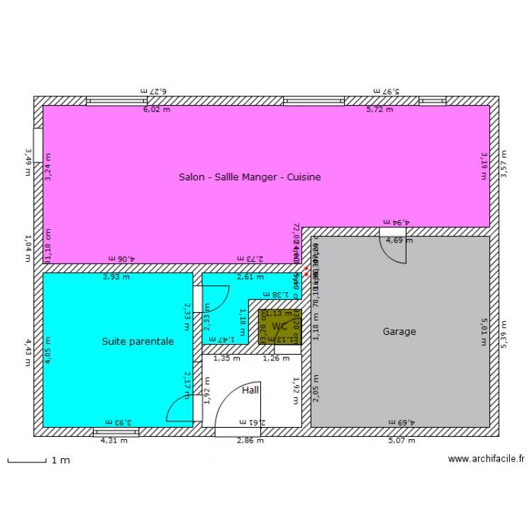 plan maison facade 12m