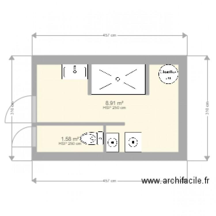 Salle de bain plan 2 pi ces 11 m2 dessin par simphi for Salle de bain 2 m2