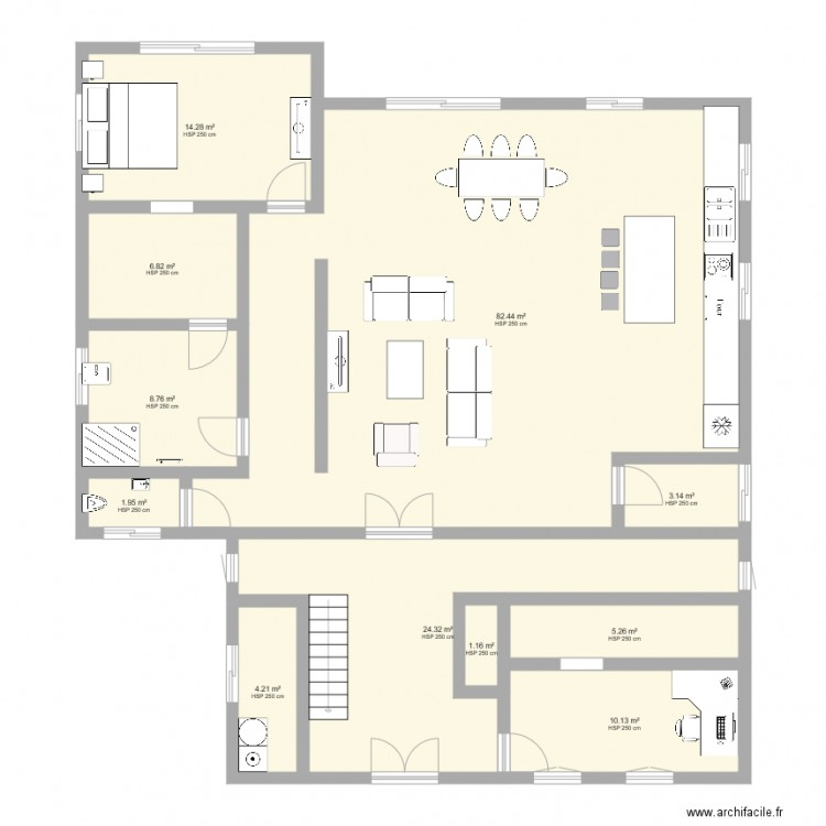 Maison 4 plan 11 pi ces 162 m2 dessin par aureliechaval for 162 plan