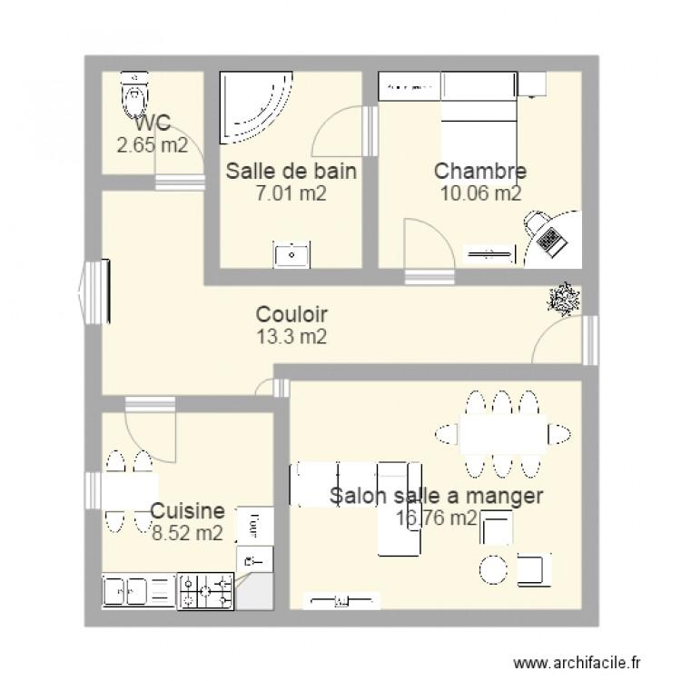 appartement f3 plan 6 pi ces 58 m2 dessin par gabriel0502. Black Bedroom Furniture Sets. Home Design Ideas