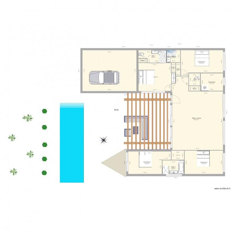 maison sur un niveau optimale plan 16 pi ces 168 m2 dessin par ggarance. Black Bedroom Furniture Sets. Home Design Ideas