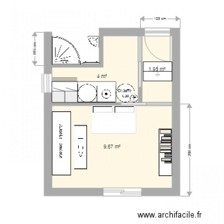 Plan Buanderie garage chambre buanderie - plan 3 pièces 16 m2 dessiné par benbene