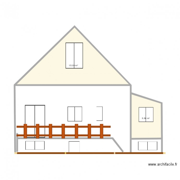 facade projet plan 2 pi ces 21 m2 dessin par azzinawel. Black Bedroom Furniture Sets. Home Design Ideas