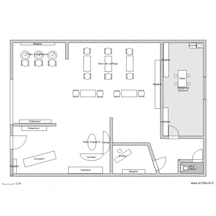 Projet salon de coiffure oc ane plan 2 pi ces 31 m2 for Projet de plan