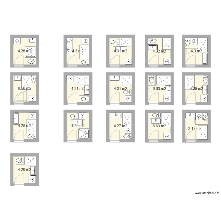 Mobilier table plan salle de bain 3m2 for Plan amenagement salle de bain