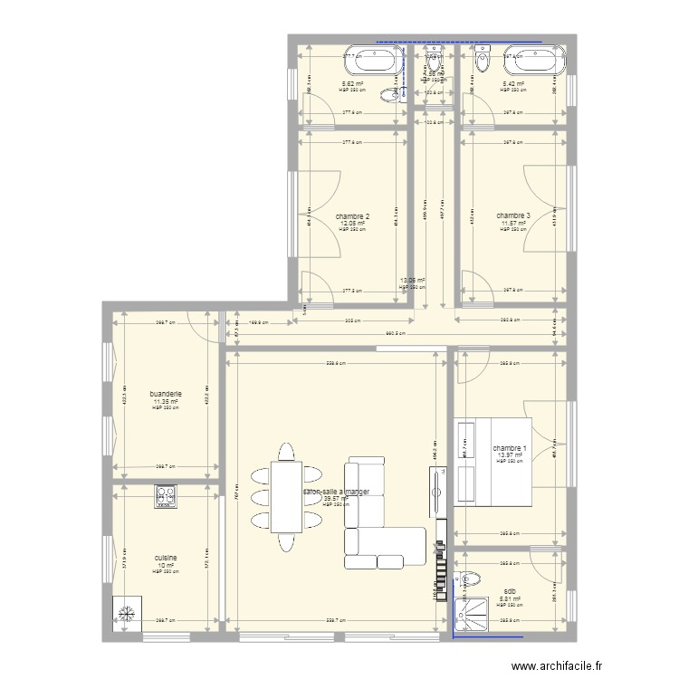 plan maison bernard 1 plan 11 pi ces 130 m2 dessin par nanard42800. Black Bedroom Furniture Sets. Home Design Ideas