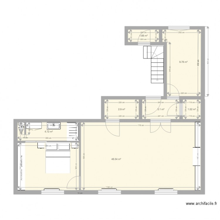 appartement t3 avec sdb et chambre plan 7 pi ces 70 m2 dessin par sultan87. Black Bedroom Furniture Sets. Home Design Ideas
