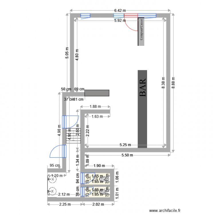 Bar rez de chauss plan 2 pi ces 2 m2 dessin par lestmalo - Chausse et vous ...